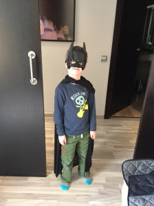 Liam's new Batman mask and cape, bought today because I caved in...
