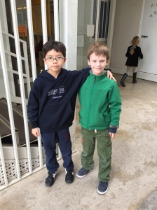 Liam and Shoma - so excited to see each other!