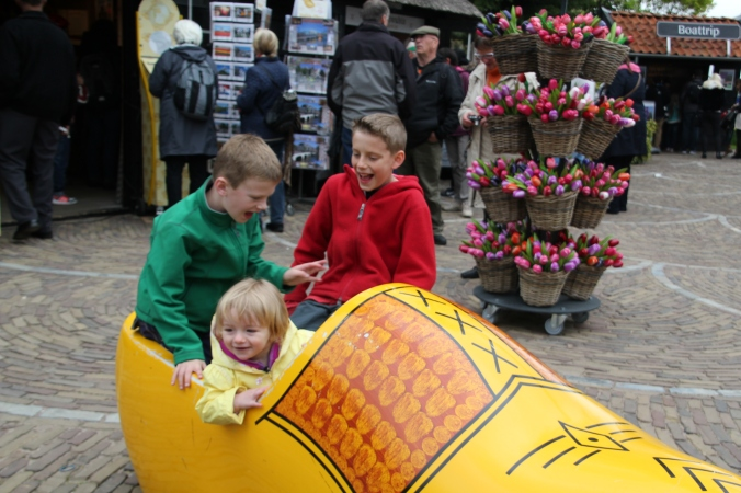 A trip to anywhere touristy in the Netherlands would not be complete without sitting in a big wooden shoe.