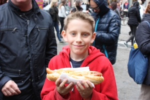 Not only was this a massive hot dog, but it was wrapped in bacon!