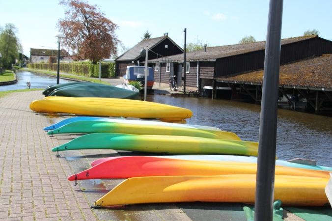You can rent canoes to row along the canals