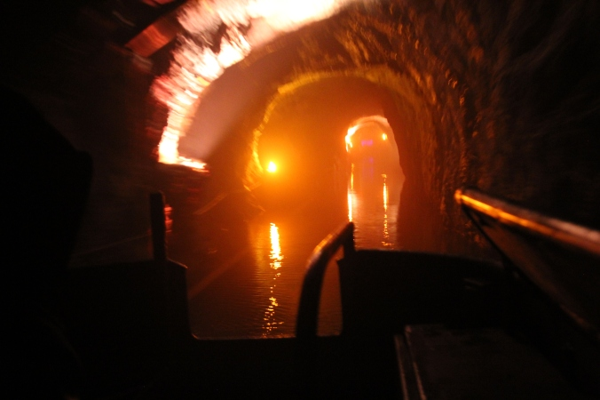 The spooky water ride into the caves