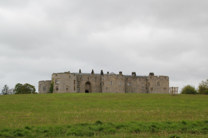 The castle upon approach - the gardens are beyond on the other side.
