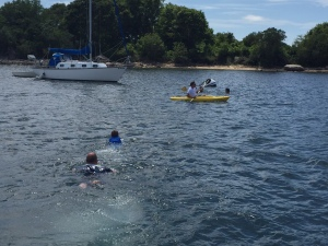 Swimming out to Devil's Foot Island