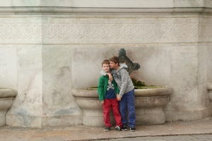 Boys in front of the fountain