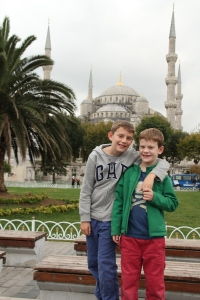 Aidan and Liam in front of the Blue Mosque