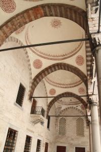 Ceilings above the walkways in the courtyard outside