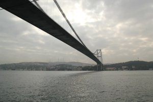 Going under the bridge - that's Asia on the other side!