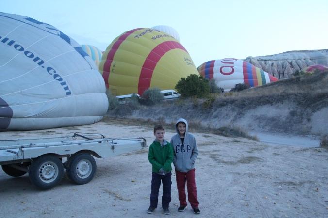 The boys near our balloon (left)