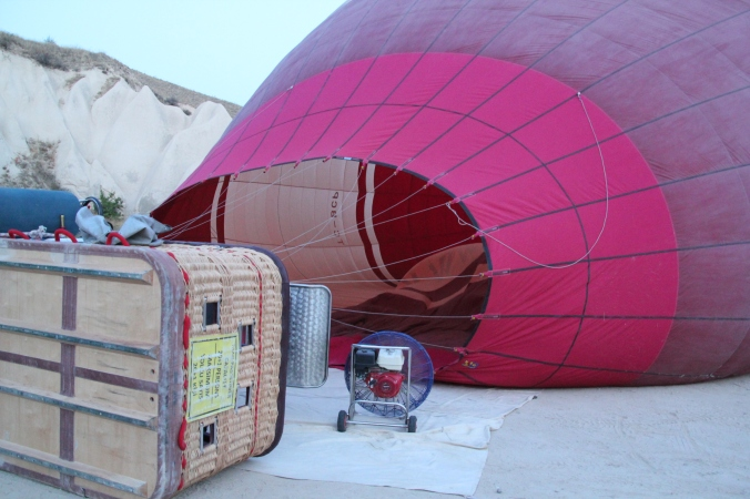 The balloon next to ours being inflated