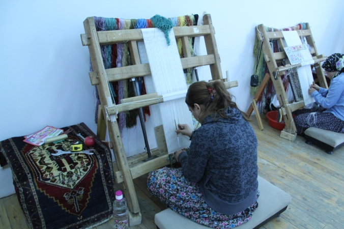 One of the highly skilled weavers - it was amazing to watch her!