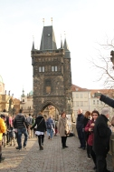 View of Old Town Tower while on the Charles Bridge