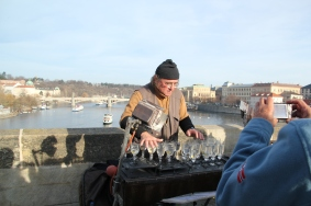 One of many street performers on the bridge but this one the most interesting - playing the theme song from Titanic with water glasses