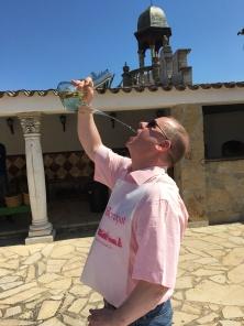 Josh drinking from the porron